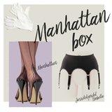 Complete set, Jarretelgordel Isabella met een paar Manhattan Heel Naadkousen plus een paar handschoenen_