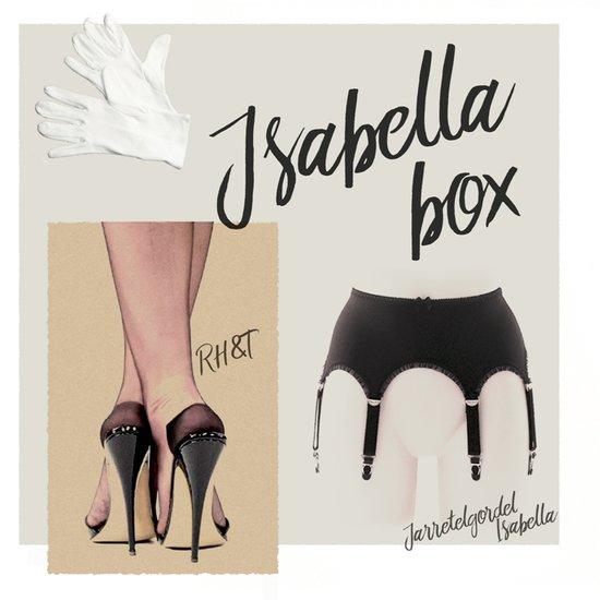 Complete set, Jarretelgordel Isabella met een paar Calze 15 nylonkousen plus een paar handschoenen