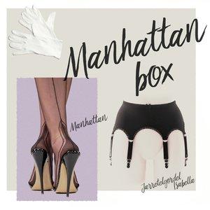 Complete set, Jarretelgordel Isabella met een paar Manhattan Heel Naadkousen plus een paar handschoenen