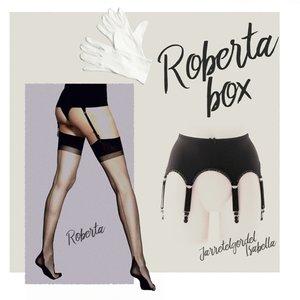 Complete set, Jarretelgordel Isabella met een paar Roberta 6 denier Naadkousen met Point Heel plus een paar handschoenen